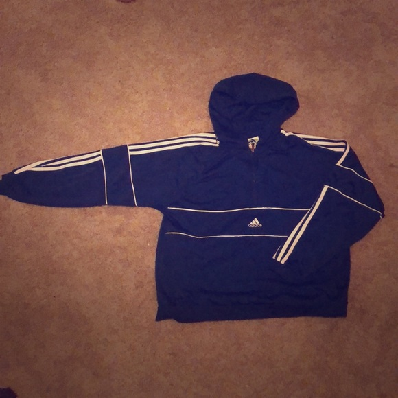 Old school Vintage Adidas Half Zip Hooded Pullover